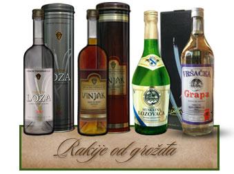 Vršački Vinogradi Rakije od grožđa Loza, Vinjak Zlatni, Muskatna lozovača, Vršačka grapa