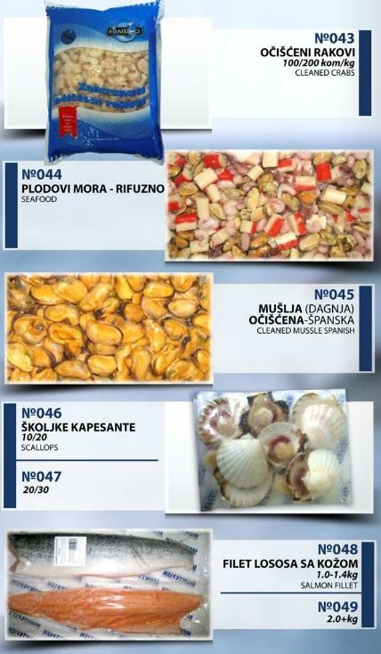 Montefish doo Tivat očišćeni rakovi, plodovi mora rinfuzno, mušlja-dagnja očišćena, školjke kapesantefilet lososa sa kožom