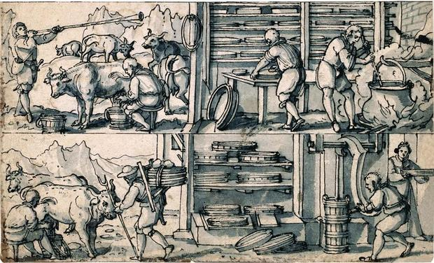 Excerpt from a pen drawing by the glass painter Daniel Lindtmayer, late 16th century ( ETH-Bibliothek Zurich, graphic collection, deposit of the Gottfried Keller Foundation