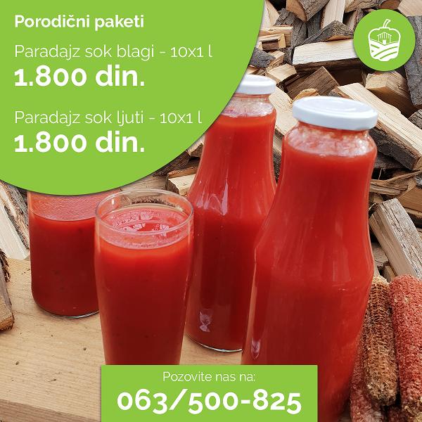 paradajz sok blagi i paradajz sok ljuti u staklenim flasama od 1l