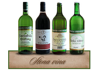 Vršački vinogradi Stona vina Banatski rizling, Pastuv, Smederevka, Belo vino