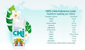 Chi 100% prirodna kokosova voda Nutritivni sadržaj za 100ml