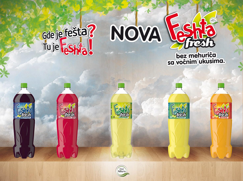 Elixir Natura doo Feshta Fresh osvežavajuči negazirani napici limunada, šumsko voće, borovnica, ananas, breskva